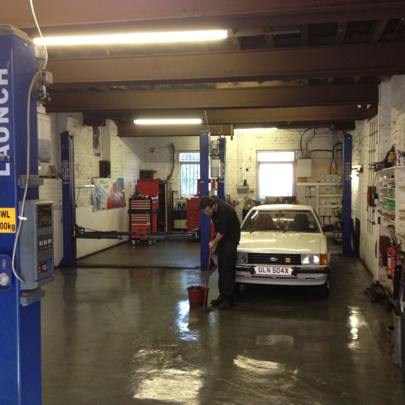 Cleaning the workshop, after a hard days work!